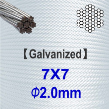 7x7 Dia.2.0mm Galvanized Steel Wire Rope