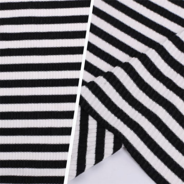 Breathable Polyester Viscose Rib Knit Striped Cloth Fabric