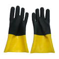 Yellow and black pvc coated gloves jersey linning12'