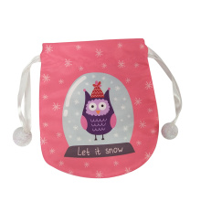 Mini christmas gift bag with cute owl pattern