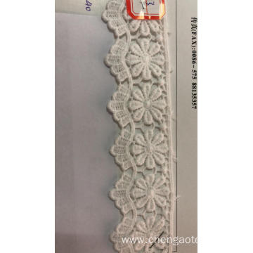 Eight Petal Wavy Flower Trims Cotton Embroider Fabric