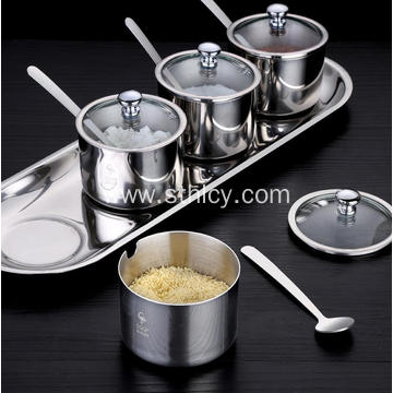 Stainless Steel Round Seasoning Jar Set
