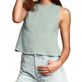 Crop Poplin Backless Strappy Crop Top