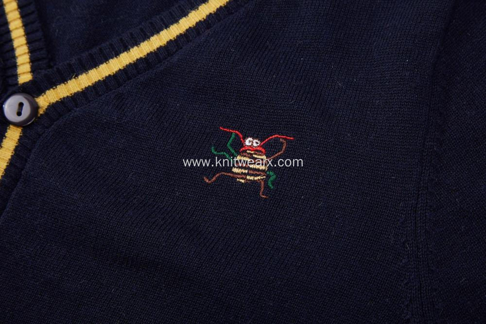Boy's Knitted Contrast Color Logo Embroidery Pocket Cardigan