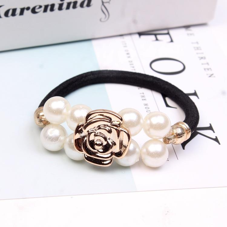 Bow Hair Accessories Pearl Elastic Rubber Bands Floral Headwear Girl Elastic Hair Band Ponytail Holder Scrunchy Rope Hair Jewelr