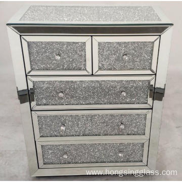 Crushed Diamond 5 Drawer MDF Mirrored Chest