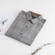 Men's Print Sateen Long Sleeve Cotton Shirt