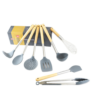 Wholesale Wooden Handle Silicone Cooking Utensil Set