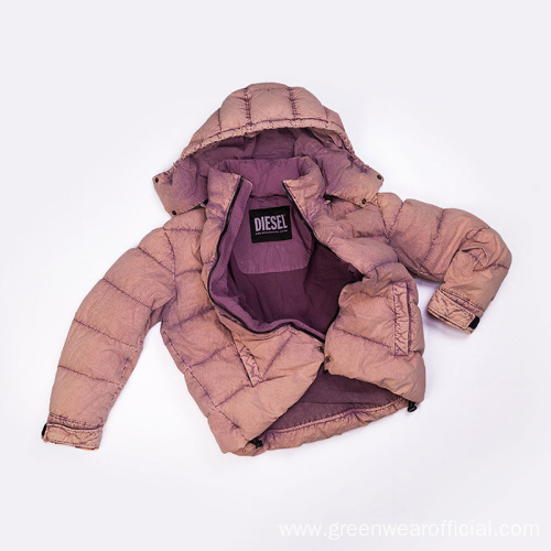 women`s 100% cotton garment dyed down jacket