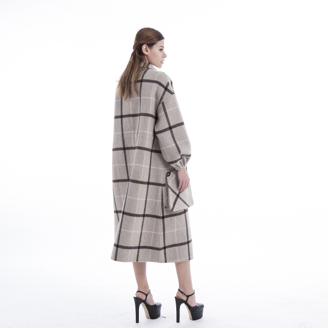 Chequered cashmere overcoat