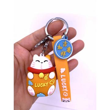 Lucky Cat PVC Keychain  Wholesale