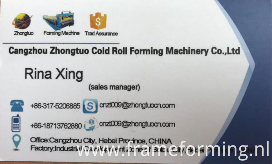 Rina from China zhongtuo cold bending roll forming machine factory