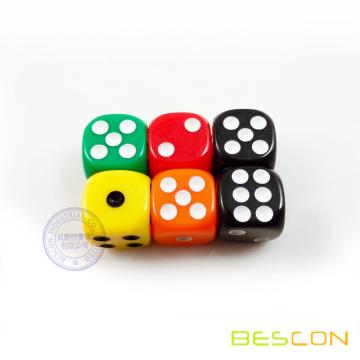 Popular Colorful D6 Six Sides Dice 14MM in Round Corner
