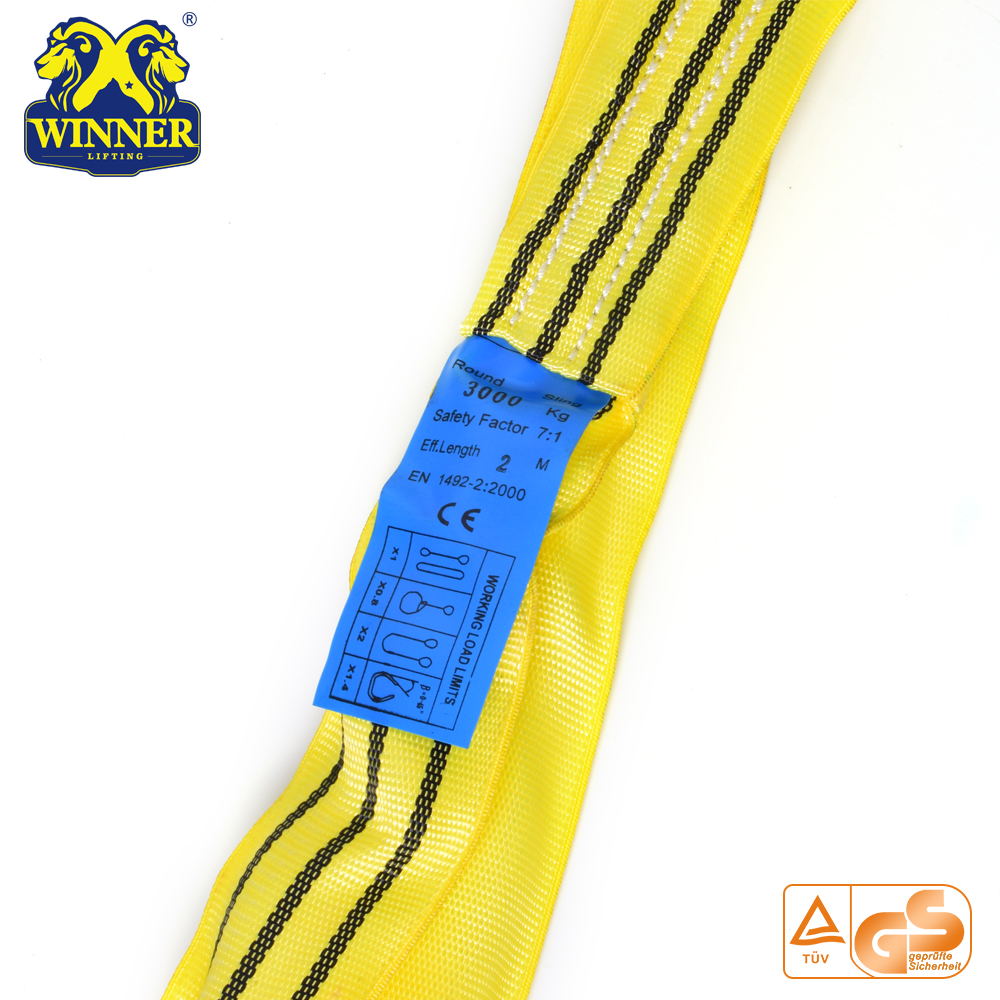 1-10T Round Cargo Webbing Sling Polyester Lifting Sling