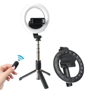 COOL DIER 4in 1 Wireless Bluetooth Selfie Stick With 6inch LED Ring Photography Light Foldable Tripod Monopod for iPhone Android
