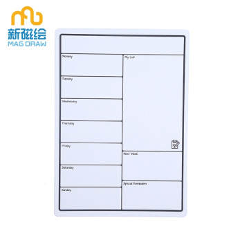 Small Weekly Magnetic Fridge Whiteboard Calendar