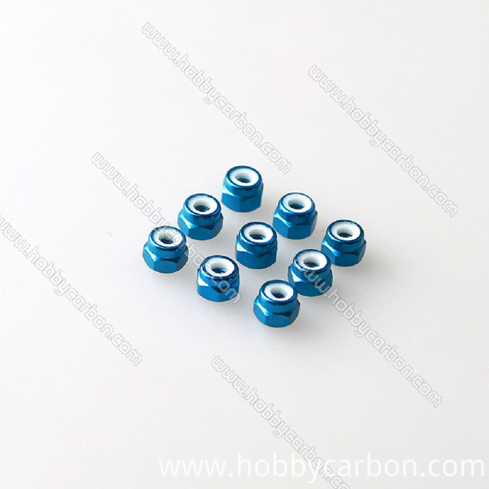 M3 aluminum lock nut blue