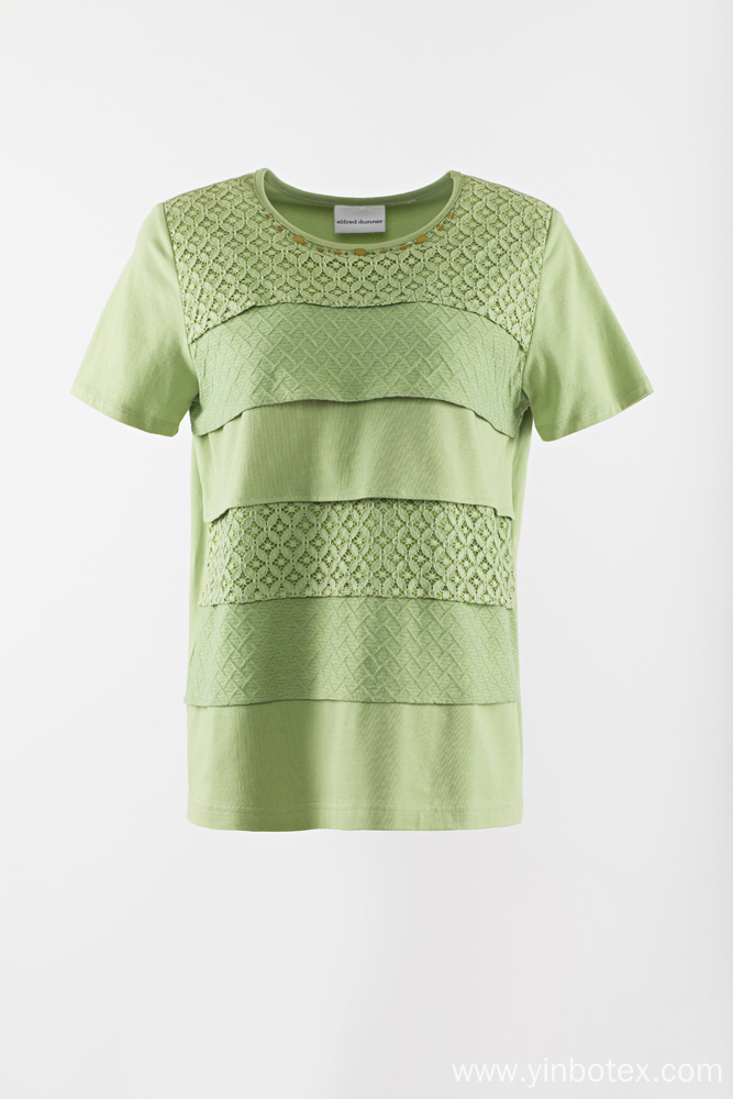 Solid knitting short sleeve Tshirt