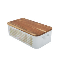 Rectangular Bamboo Lid Enamel Bread Box