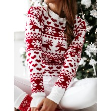 Hot Christmas Women Sweater Santa Claus Xmas Printing Long Sleeve O-neck Christmas Knitting Pullover Sweater Top Jumper Knitwear