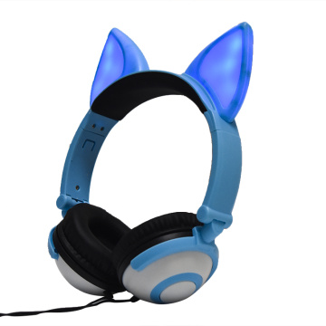 Cosplay Fox Ear Wired Headphones Acender Headsets