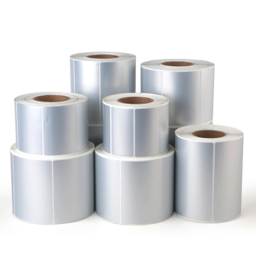 Strong self adhesive silver pvc custom label roll