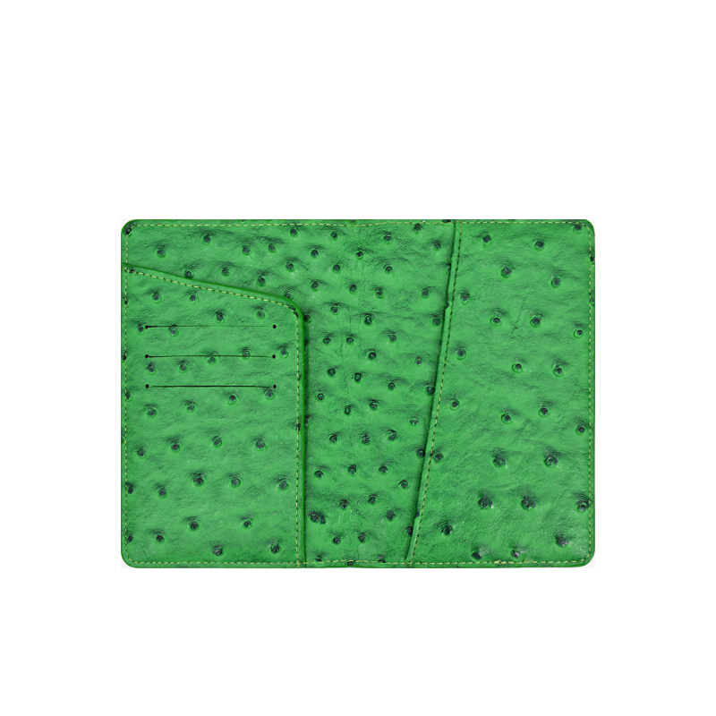 Custom Unisex Green Ostrich Genuine Leather Passport Holder