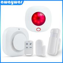 Awaywar 433MHz Wireless strobe siren Security Burglar Alarm System kit PIR Motion/Door Sensor Fire Smoke Detector for Smart Home