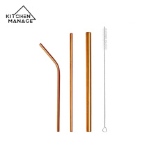 Bent and Straight Metal Straws with Cleaning Brush
