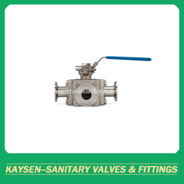 DIN Sanitary full bore 3-way ball valve clamped