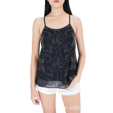 Embroidered Sequin Casual Tank Tops