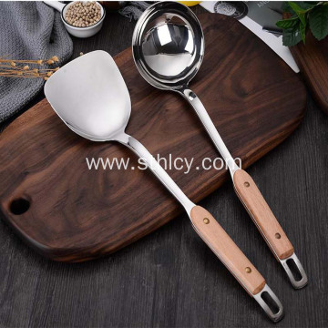 Stainless Steel Wooden Handle Kitchen Spatula Two-piece