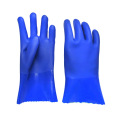 Blue sandy finish Flannelette lined gloves 27cm