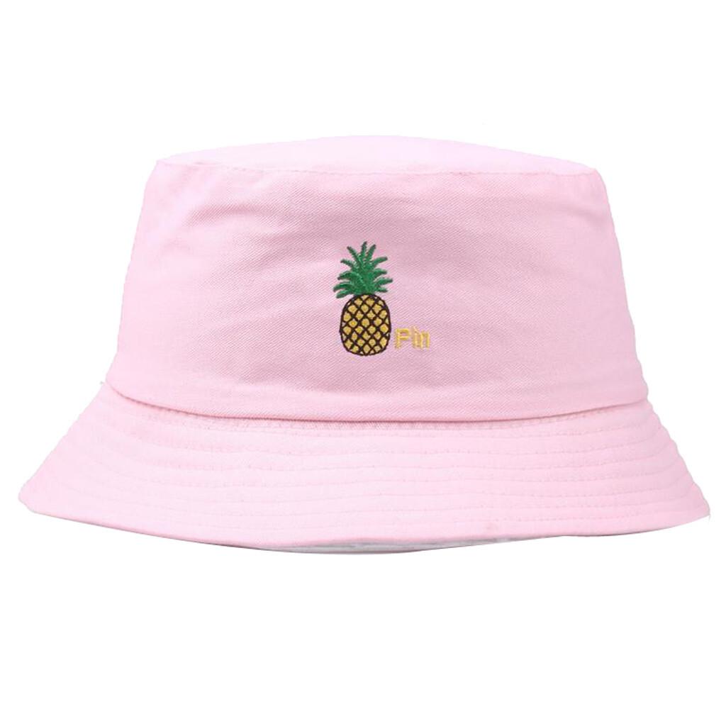 Women Men Unisex Fashion Fisherman Hat Pineapple Fruit Embroidery Sun Protection Cap Wild Fresh Cute Kawaii Outdoors Hats #P