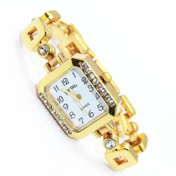Newest Gold metal chain watch lady wristwatch