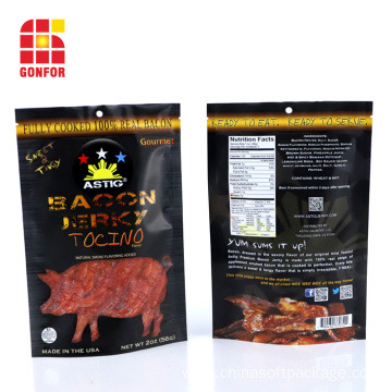 Bacon Jerky Packaging Stand Up Pouch With Zipper