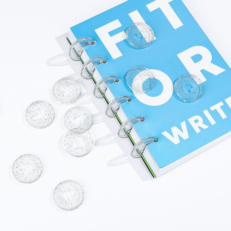 30PCS Mushroom Hole Binder Ring Binding Flash Powder Love Binder Plastic Plate DIY Binder Notebook