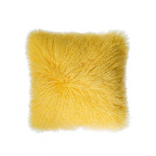 "16"" x 16"" Mongolian Lamb Fur Pillow Single Sided Fur Many Colors"