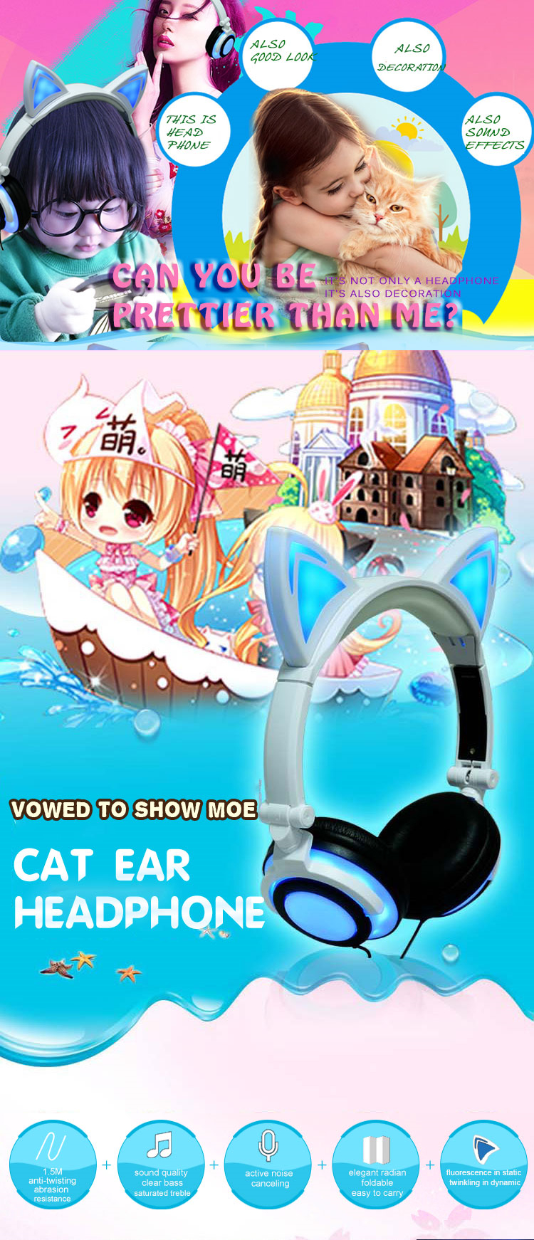 Soft Skin Cat Ear Protein glowing Headphones