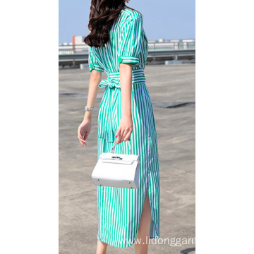 Women Casual Cotton Striped Dress with Belt