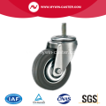 5 Inch Threaded Stem Swivel Gray Rubber Iron Core Industrial Caster