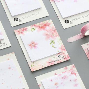 Fresh Cherry Sakura Natural Memo Pad Sticky Notes Shopping Check List School Supply Label G92E