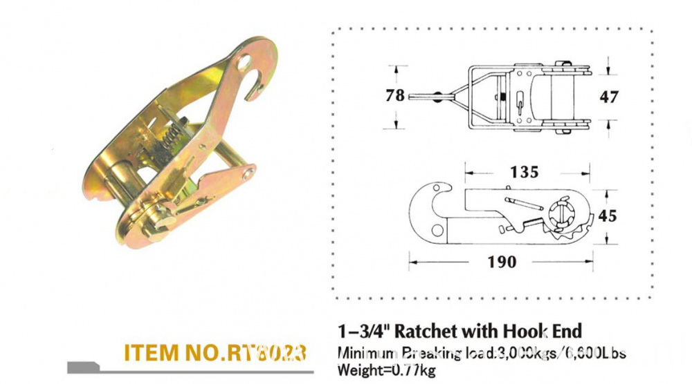 Specification of ratchet buckle
