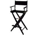 "30 ""Black Frame Director Makeup Chair with Black Canvas"