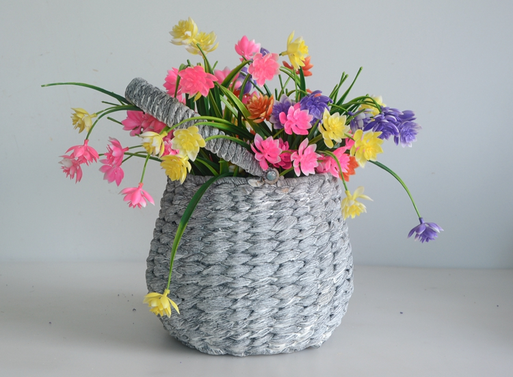 Round drum-like grey water hyacinth flower pot with handle-3