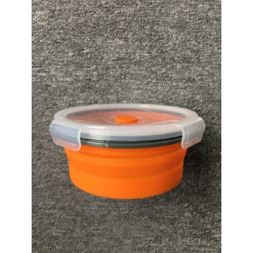 Folding Round Food-grade Silicone Lunch Box