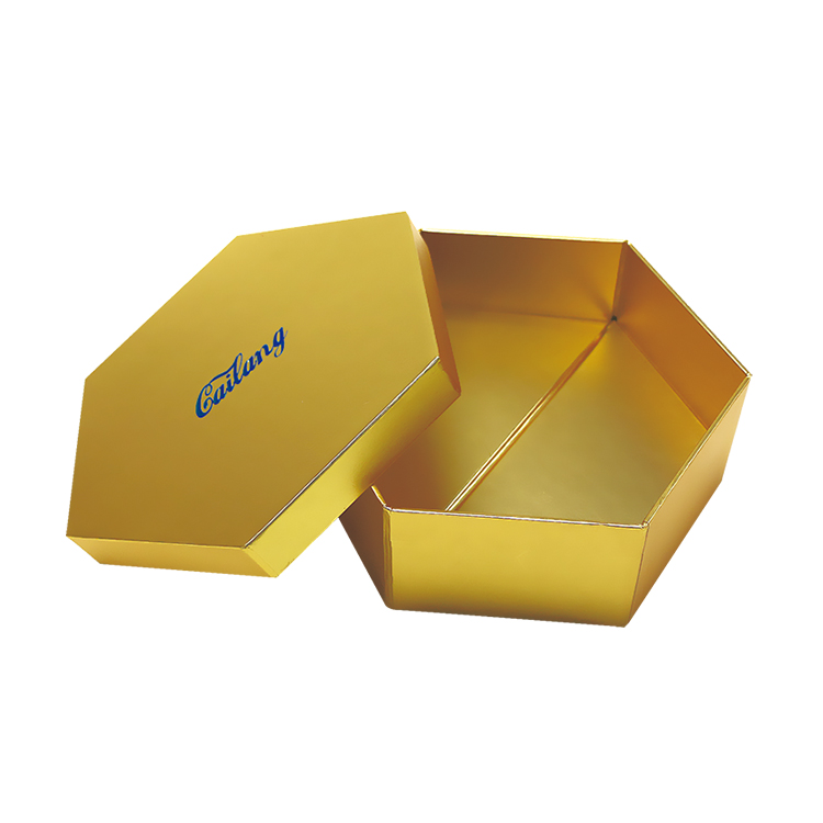 Foldable Gold Paper Hexagon Hat Packaging Box