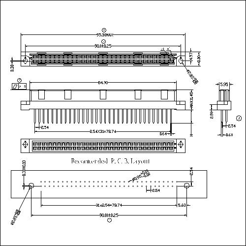DFS-XX-XXX-202 DIN 41612 Vertical Female Type B Connectors 64 Positions