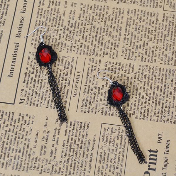 Red Stones Lace Tassel Earring