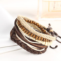 Wooden Beads Bracelet DIY Multi Layer Leather Wristbands